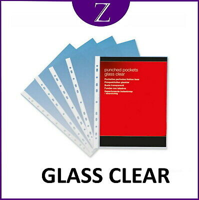 A4 Glass Clear Pockets Poly Multi Punched Heavy Duty 50 70 80 Or 100 Micron