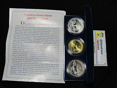 1991 Marshall Islands Heroes of Desert Storm 3 pc Coin Set- Silver- w/Box & COA