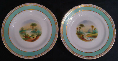 Pair of Mid 19th Century Minton Hand Painted & Gilt Landscape Cabinet Plates