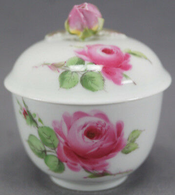 20th Century Meissen Hand Painted Pink Rose Small Covered Porcelain Sugar