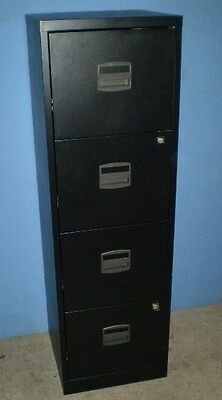 Bisley A4 Personal Filing Cabinet 4 Drawer Black  BY31003, With Keys
