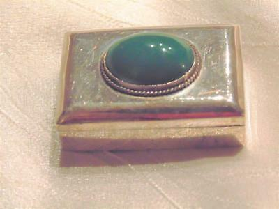 Vtg Mexico Sterling Silver Stone Top Pill Box Mini Snuff Box 925 Eagle1 signed