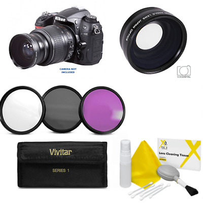 55Mm Hd Wide Angle Macro Close Up Lens + Hd Filter Kit For Nikon D3400 D5600
