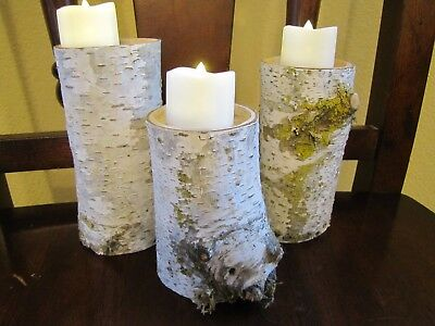 Lot of 3 White Birch Real Wood Log Candle Holder w/ LED Tea Light Handmade Hand