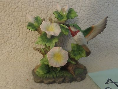 Hummingbird White Flowers Statue Small Bird Figurine Collectible butterfly,log