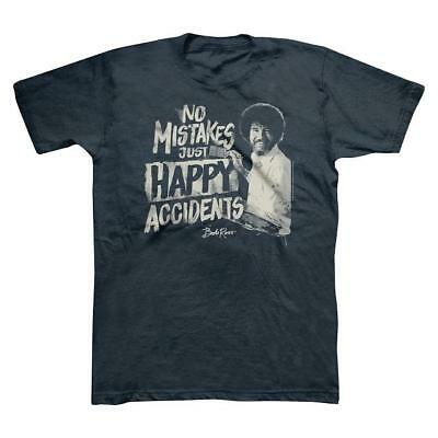 Bob Ross No Mistakes, Just Happy Accidents Men's T-shirt - Navy Blue - Pick Size