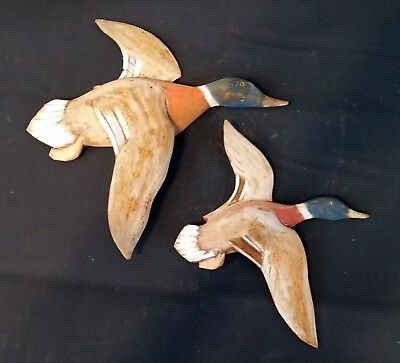 Pair Flying Duck Decoys- Vintage Hand Carved Wood