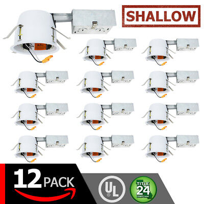 """4"""" Inch LED Remodel Recessed Can Lighting – Airtight & IC Housing SHALLOW (12PC)"""