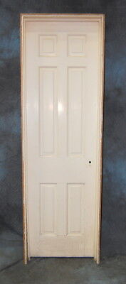 "Original Antique 6 Panel Pine Door in Jamb, Vintage 24"" x 80"" Closet Door"