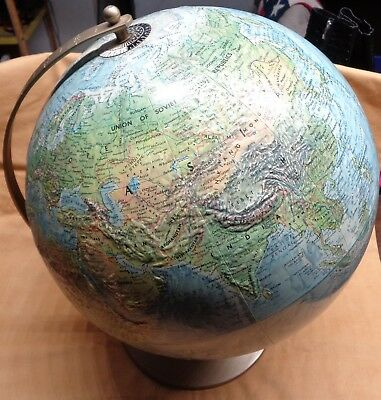 "Vintage Replogle 12"" World Globe, rotating, with base, topography Made in USA"