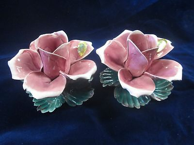 Nos Vtg Pair Of Lg Purple Pink Capodimonte Rose Candle Holders 2 Pc Pottery Set