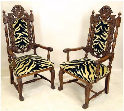 PAIR OF 19th CENTURY GOTHIC REVIVAL ARMCHAIRS