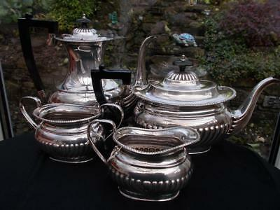 Superb Harts Of Sheffield Silver Plated 4 Piece Tea Coffee Set Lovely Condition