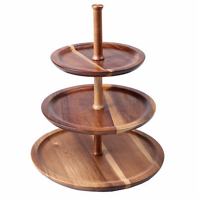 NEW 3 Tier Acacia Wood Serving Tray - Gourmet Kitchen,Kitchen & Butler Trays