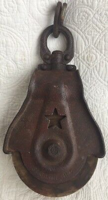 Vintage Antique Starline Single Star Wood and Metal/Cast Iron Pulley