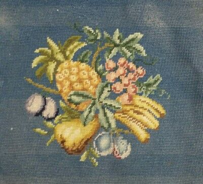 Pair of Antique Victorian Needlepoint Chair Upholstery Fruit Pineapple