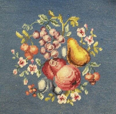 Pair of Antique Victorian Needlepoint Chair Upholstery Fruit Flowers