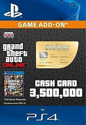 Grand Theft Auto Online Great White Shark Cash $3,500,000 PS4 UK GTA 5 V