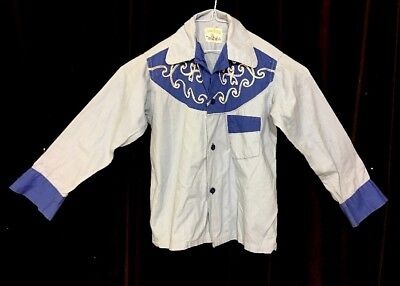 Cowboy 40s 50s Vintage Ranch Wear Tommy Tucker Child Western Shirt Sz10