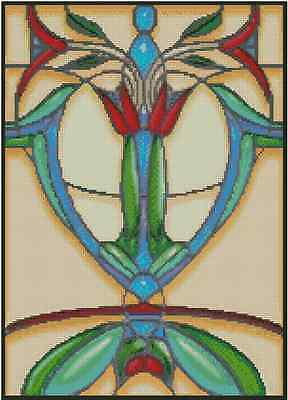 """Cross Stitch Chart ART DECO STAINED GLASS ABSTRACT """"TULIP"""" #33-100 (Large Print)"""