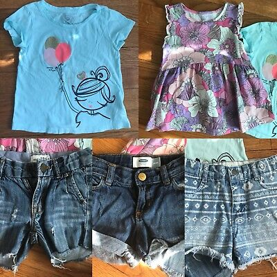 LOT Of Two Gap Tops Toddler Girls 3T & Three Pairs Of Shorts