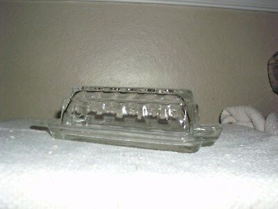 Vintage Prescut Glass Covered Butter Dish