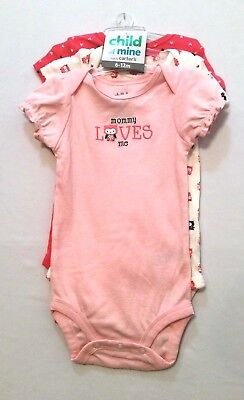 c31cfb093 Child of Mine Carters Pink Brown Hearts Owls Mommy Loves Me Bodysuits, 6-12