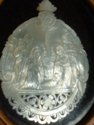 Antique Carved Mother of Pearl Shell Nativity Scene Icon Bethlehem  19th Century