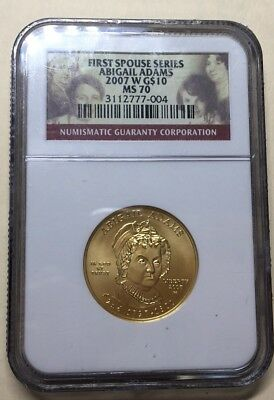 2007-W Abigail Adams $10 NGC MS70 - First Spouse .999 Gold