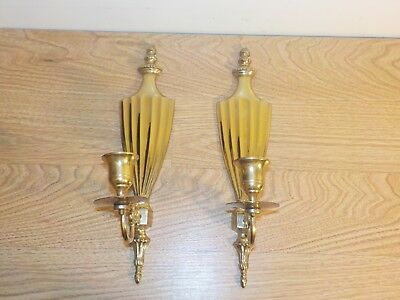 Vintage Pair Solid Brass Wall Candle Sconces Candle Holders