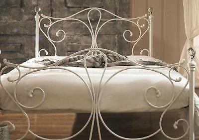 Antique French Metal Bed Frame Victorian Style White 4ft6 Double Size Vintage