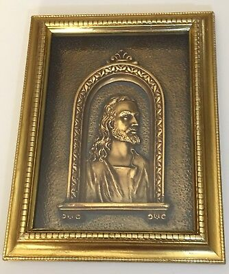 Vintage 3D Jesus Gold Foil Covered Frame With Copper/Patina Colored Background