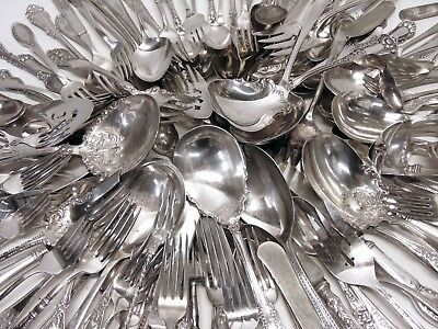 Antique/Vintage Victorian Silver Plated Flatware Lot Spoons Forks Crafts Jewelry & ANTIQUE/VINTAGE VICTORIAN Silver Plated Flatware Lot Spoons Forks ...