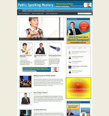 Public Speaking Blog & Website For Sale With Uk Affiliates & Banners