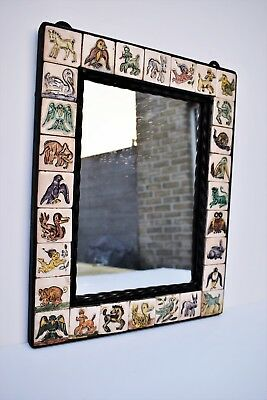 Rare Wrought Iron Framed Mirror w. Tile Surround Mid Century | Byzance Belgium