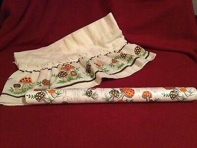 "Vtg. Sears ""Merry Mushroom"" Curtain Valance 5' 9""and Approx 5' 5"" contact paper"
