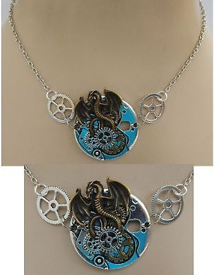 Silver Steampunk Dragon Strand Necklace Jewelry Handmade NEW Cosplay Adjustable