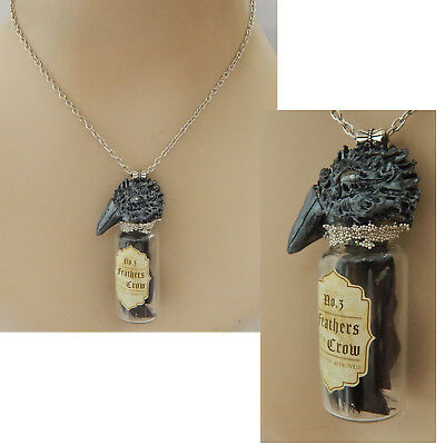 Feathers of Crow Glass Vial Necklace Jewelry Handmade NEW HandSculpted NEW Clay