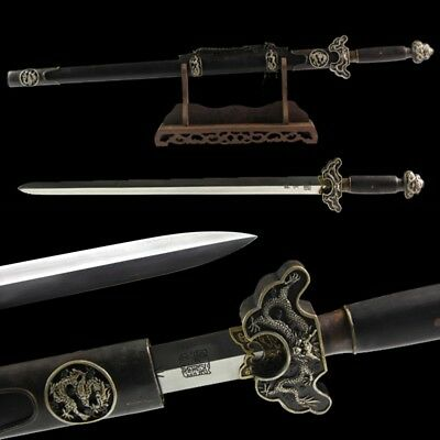 New Double-edged god Dragon Treasured sword Hand Forged pattern steel Sharp #004