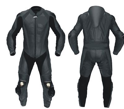 one piece full black Motorcycle Leather Suit MOTOGP Motorbike Leathers new 2 PC