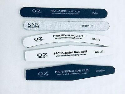 Nail Files SNS & OZ Double Sided Grit Professional use for salon  5pcs (New)