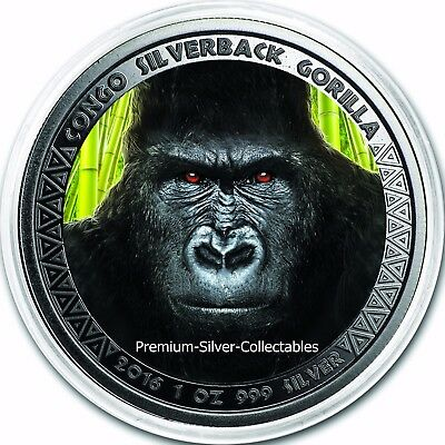 2016 Congo Gorilla - Second Coin in Series -Silver 1 Ounce Pure .999 Colorized!