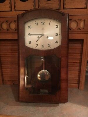 Vintage Art Deco German Junghans 'Foreign' Wall Clock W/Westminster Chimes