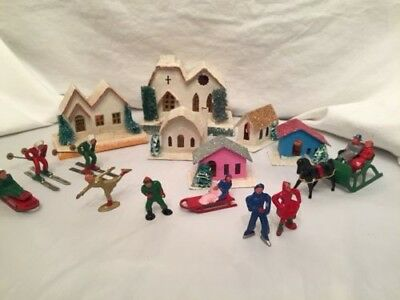 Barclay Winter Lead Figures 14+ Pieces Skiers Sledders Horse Sleigh Skaters