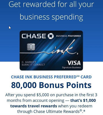 Extra $90 + 80K ($1K) Points from Chase - Ink Business Preferred Card Referral