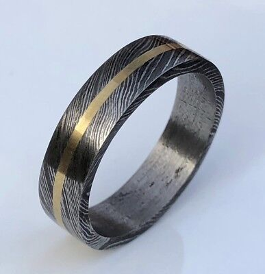 HUNTEX Unique Damascus Ring with Carved Brass Ring Size 12.5 Mens Gift Jewellery