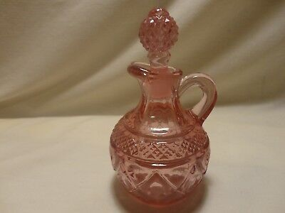Cruet Oil Jar Pink Rose Color Etched Glass Diamond Cut Pattern With Stopper