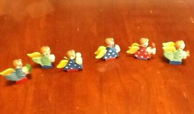 Lot Of 6 Wooden Angels Small Japan Carved Painted Miniature Figure Christmas