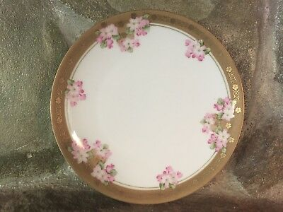 "Antique Vintage Rs Germany White Gold Pink Flowers 8"" Porcelain Plate"