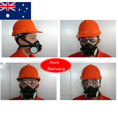 AU Chemical Gas Anti-Dust Spray Paint Dual Respirator Mask Goggles Black